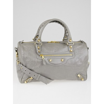 Balenciaga Gris Pyrite Lambskin Leather Giant 12 Gold Boston Bag