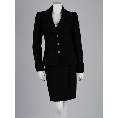 Chanel Black Wool Blend Boucle Skirt Suit Size 8