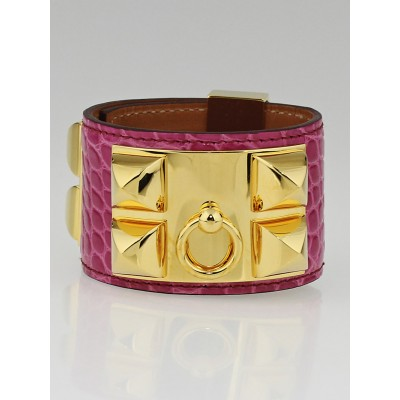 Hermes Fucshia Shiny Lisse Alligator Gold Plated Collier de Chien Bracelet Size S