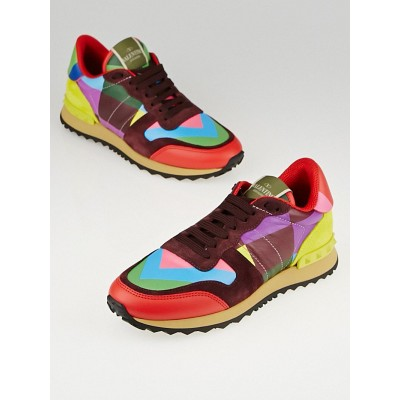 Valentino Multicolor Leather/Suede 1973 Rockrunner Sneakers Size 6.5/37