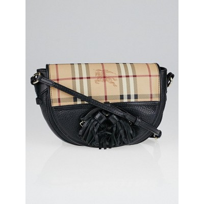 Burberry Black Leather Haymarket Check Coated Canvas Maydown Crossbody Bag