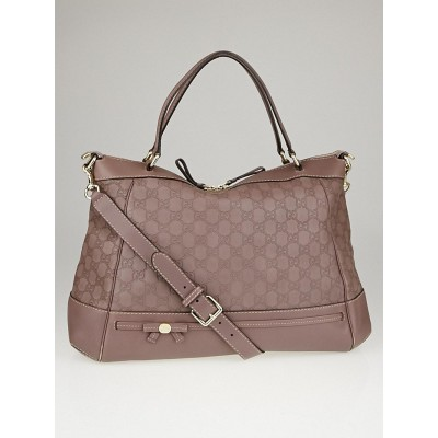 Gucci Mauve Guccissima Leather Mayfair Bow Large Top Handle Bag