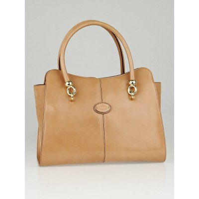 Tod's Beige Patent Leather Sella Small Shopping Tote Bag