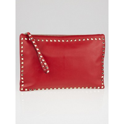 Valentino Red Nappa Leather Rockstud Large Clutch Bag