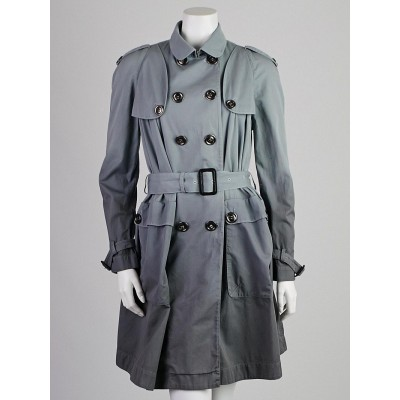 Burberry Blue Degrade Cotton Trench Coat Size 4/38
