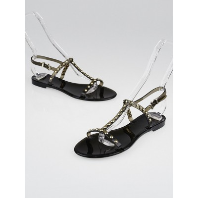 Givenchy Black Studded Jelly Flat Sandals Size 7.5/38