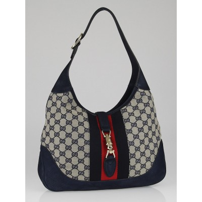 Gucci Beige/Blue GG Canvas Vintage Web New Jackie Shoulder Bag