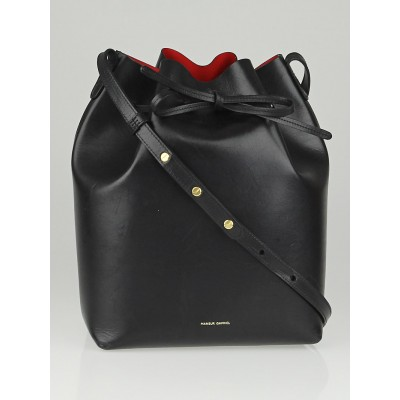 Mansur Gavriel Black/Flamma Leather Bucket Bag