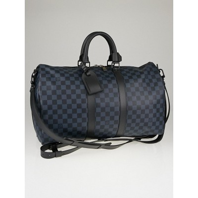 Louis Vuitton Damier Cobalt Canvas Keepall A Dos Bag