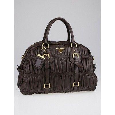 Prada Brown Nappa Gauffre Leather Satchel Bag