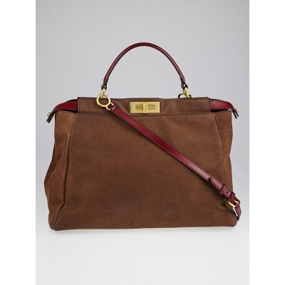 Fendi Brown/Red Nubuck Leather Large Peekaboo Bag 8BN210