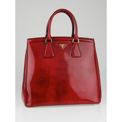 Prada Red Vernice Leather Large Tote Bag