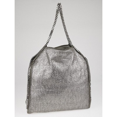 Stella McCartney Silver Metallic Boucle Falabella Big Tote Bag