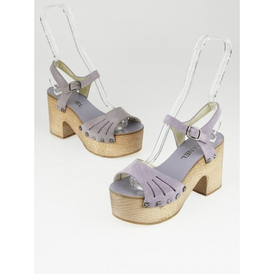 Chanel Light Purple Suede Paris-Dallas Platform Wood Sandals Size 5.5/36