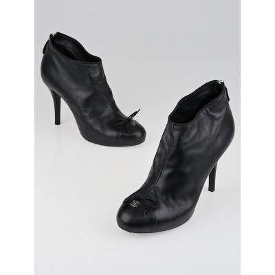 Chanel Black Leather Cap-Toe Ankle Boots Size 9.5/40