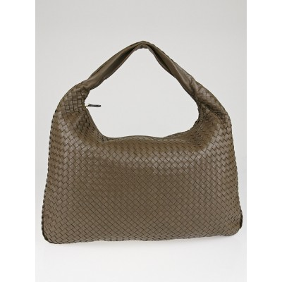 Bottega Veneta Bark Intrecciato Woven Nappa Leather Maxi Veneta Hobo Bag