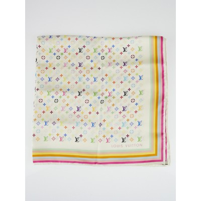 Louis Vuitton White Monogram Multicolore Silk Square Scarf