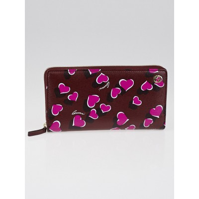 Gucci Red/Pink Heartbeat Print Leather Zippy Long Wallet