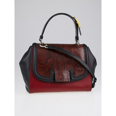 Fendi Black/Burgundy Python and Leather Silvana Bag 8BN234