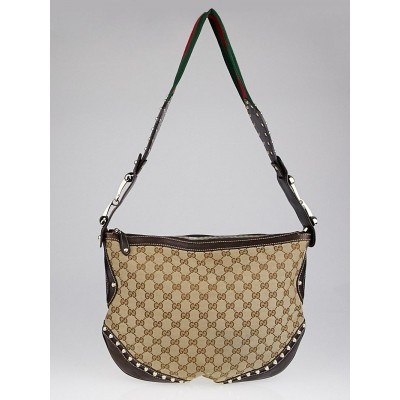 Gucci Beige/Ebony GG Canvas Vintage Web Medium Studded Pelham Shoulder Bag