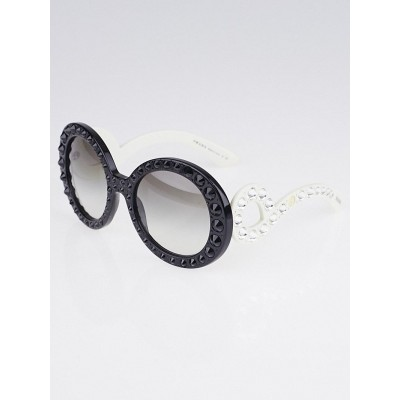 Prada Black Round Frame Crystal Ornate Sunglasses - SPR31P