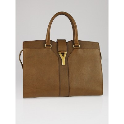 Yves Saint Laurent Beige Textured Leather Medium Cabas ChYc Bag
