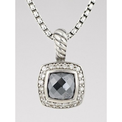 David Yurman 7mm Hematite and Diamonds Petite Albion Pendant Necklace