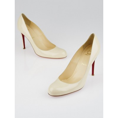 Christian Louboutin Bone Patent Leather Simple 100 Pumps Size 11/41.5