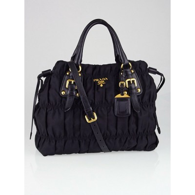 Prada Black Gaufre Tessuto Nylon Shopping Tote Bag BN1788