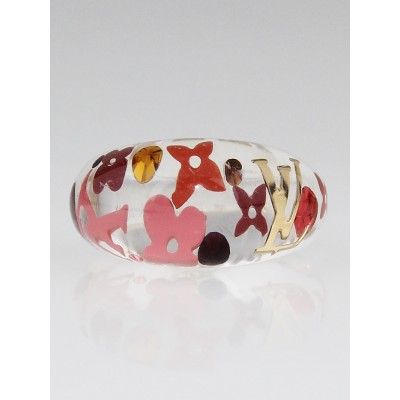 Louis Vuitton Tangerine Resin Inclusion Ring Size 6.5 M