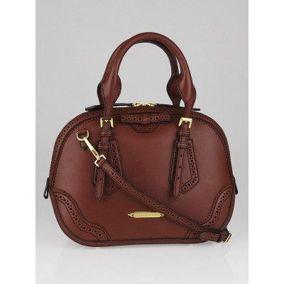 Burberry Brown Brogue Leather Small Orchard Bag