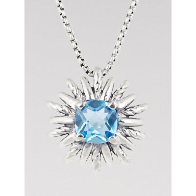 David Yurman Sterling Silver and Blue Topaz Starburst Pendant Necklace