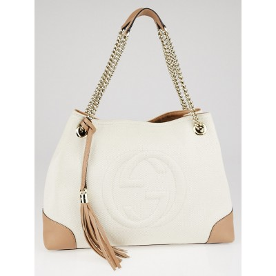 Gucci White/Beige Canvas Soho Chain Tote Bag