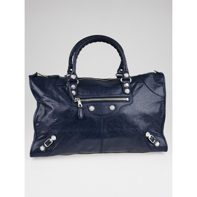 Balenciaga Bleu Obscur Lambskin Leather Giant 12 Silver Work Bag