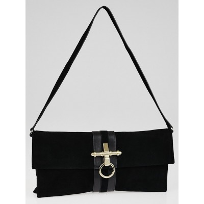 Givenchy Black Suede Obsedia Clutch Bag
