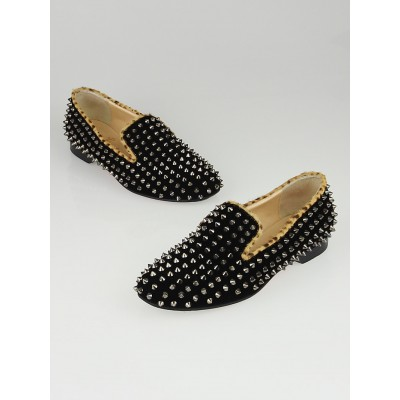 Christian Louboutin Black Velvet/Leopard Print Pony Hair Rolling Spikes Flat Loafers Size 7.5/38