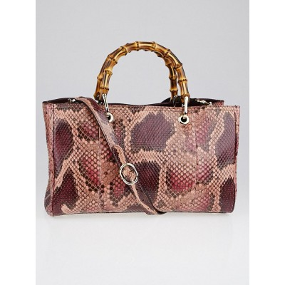 Gucci Purple Python Medium Bamboo Top Handle Medium Tote Bag