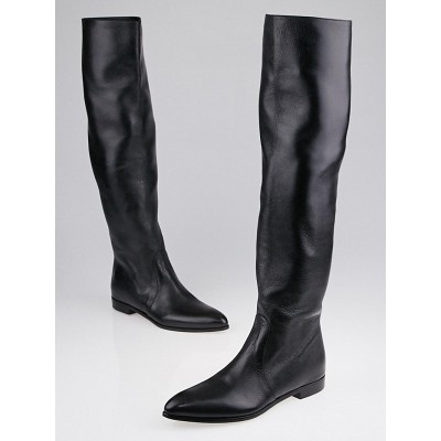 Prada Black Leather Pointed Toe Knee-High Flat Boots Size 5.5/36
