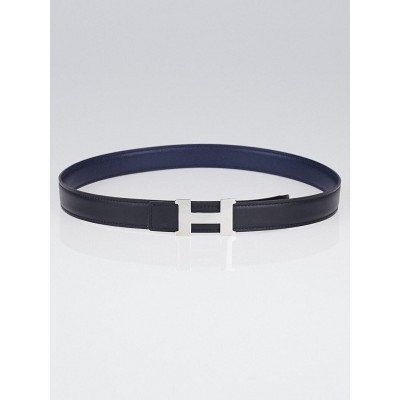 Hermes 24mm Black Box / Navy Blue Courchevel Leather Palladium Plated Constance H Belt Size 72