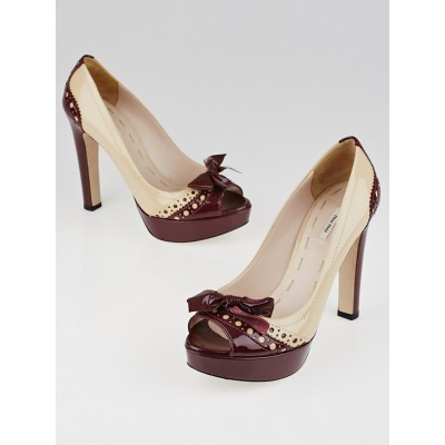 Miu Miu Burgundy/Nude Patent Leather Brogue Peep Toe Pumps Size 5.5/36