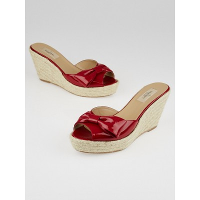 Valentino Red Patent Leather Mena Espadrille Slide Wedges Size 9.5/40