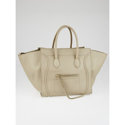Celine Beige Supple Calfskin Leather Medium Phantom Luggage Tote Bag