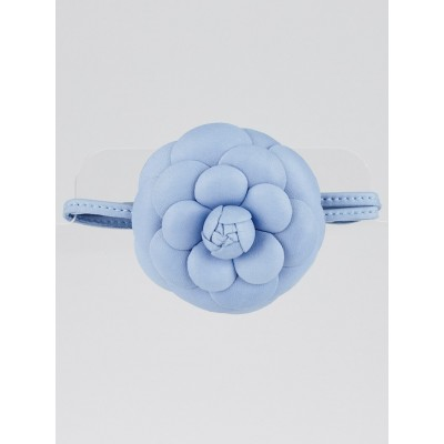 Chanel Blue Nappa Leather Camellia Bracelet/Necklace