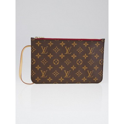 Louis Vuitton Rouge Monogram Canvas Neverfull Pochette Zippered Clutch Bag