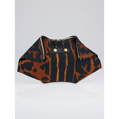 Alexander McQueen Ocelot Printed Canvas De Manta Clutch Bag