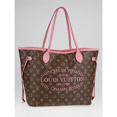 Louis Vuitton Limited Edition Rose Velours Monogram Ikat Neverfull MM Bag