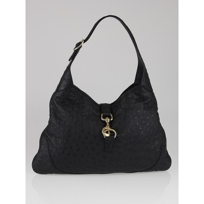 Gucci Black Ostrich Medium Jackie O Bouvier Hobo Bag