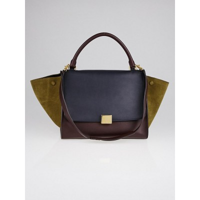Celine Burgundy Tri-Color Smooth Leather and Suede Medium Trapeze Bag
