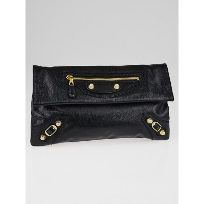 Balenciaga Black Lambskin Leather Giant 12 Gold Envelope Clutch Bag