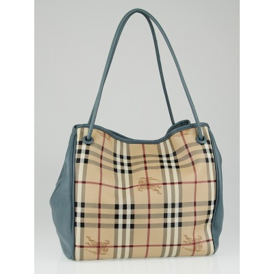 Burberry Blue Leather Haymarket Check Coated Canvas Knots Small Canterbury Tote Bag
